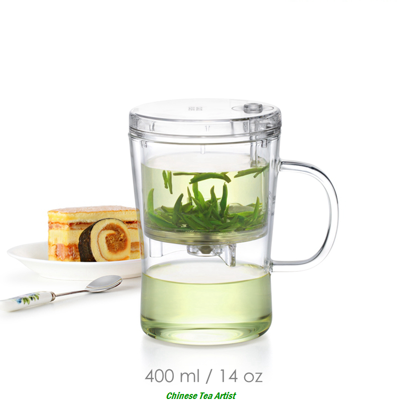 Crystal Clear Borosilicate Tea Cup with Lid and Strainer 400ml,Drinkware Creative, Convenient Tea Maker