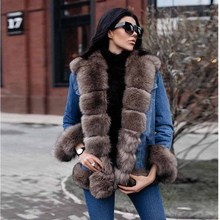 TOPFUR 2019 Fashion Real Fur Coat Women Casual Denim Jacket For With Luxury Fox Collar Parka Jeans