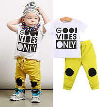 2PCS Children Clothes Kids Boy Casual Sweatshirt Tops and Long Yellow Pants Outfits Tracksuit Set