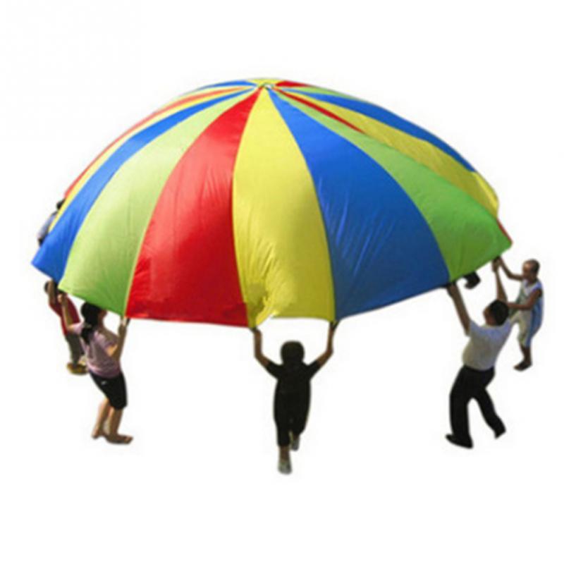 Hot Rainbow Parachute Diâmetro 2M Desenvolvimento Da Criança Esportes Dos Miúdos Ao Ar Livre Guarda-chuva Brinquedo Salto-saco Ballute Jogar Paraquedas 8 Pulseiras
