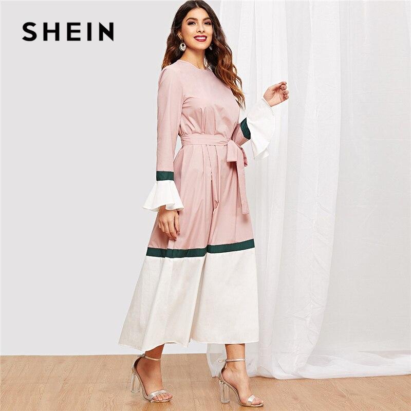 070ddf7354 Aliexpress.com : Buy SHEIN Multicolor Waist Belted Bell Sleeve Color Block  Flounce Sleeve Dress Casual Elegant Women Autumn Modern Lady Dresses from  ...