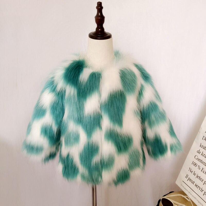 2018 Winter Girls Faux Fur Coat Kids Fox Fur Jackets Color Mixing Baby