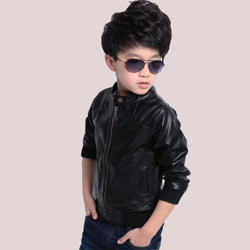 58ed1a8a Boys PU Leather Jacket Coat Cashmere Clothes 2018 Style Teen Boy Autumn  Thin Outerwear Toddler Kids Winter Thick Padded Jackets-in Jackets & Coats  from ...