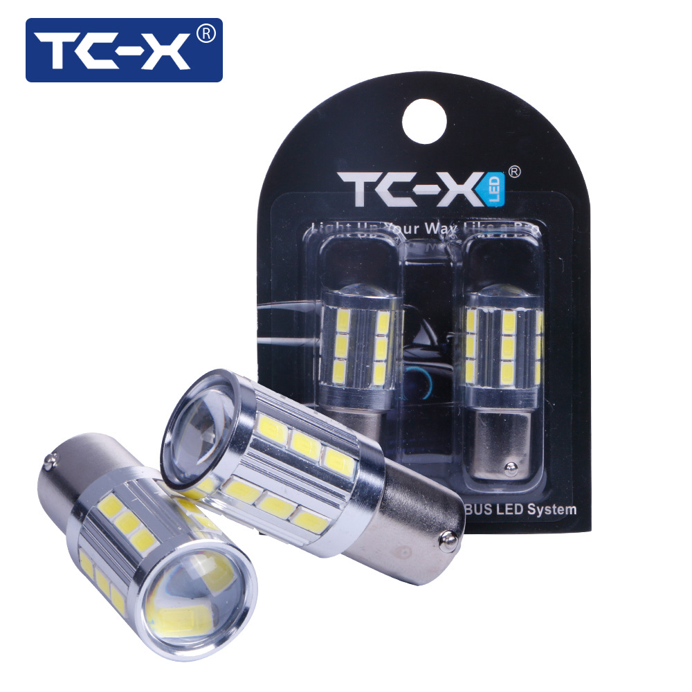 TC-X 1 Pair 1156 21 33 LEDs 5730 SMD with Lens 12V BA15S High Power Car Brake Reverse Lamp Turning Lights Car-styling LED Bulb