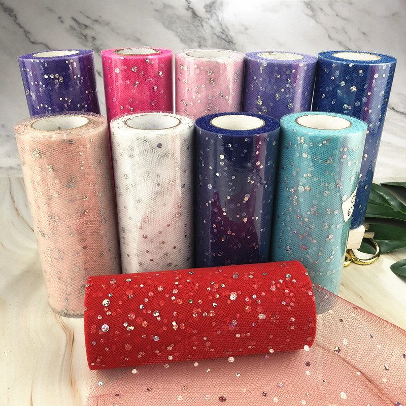Glitter Sequin Tulle Roll 15cm 22m  Roll Fabric Spool Tutu Gift Wrap Baby Shower Wedding Decoration DIY Birthday Party Supplies