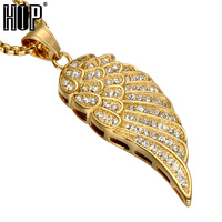 HIP Hop Iced Out Bling Full Rhinestone Angel Wings Men Pendants Necklaces Gold Color Titanium Stainless