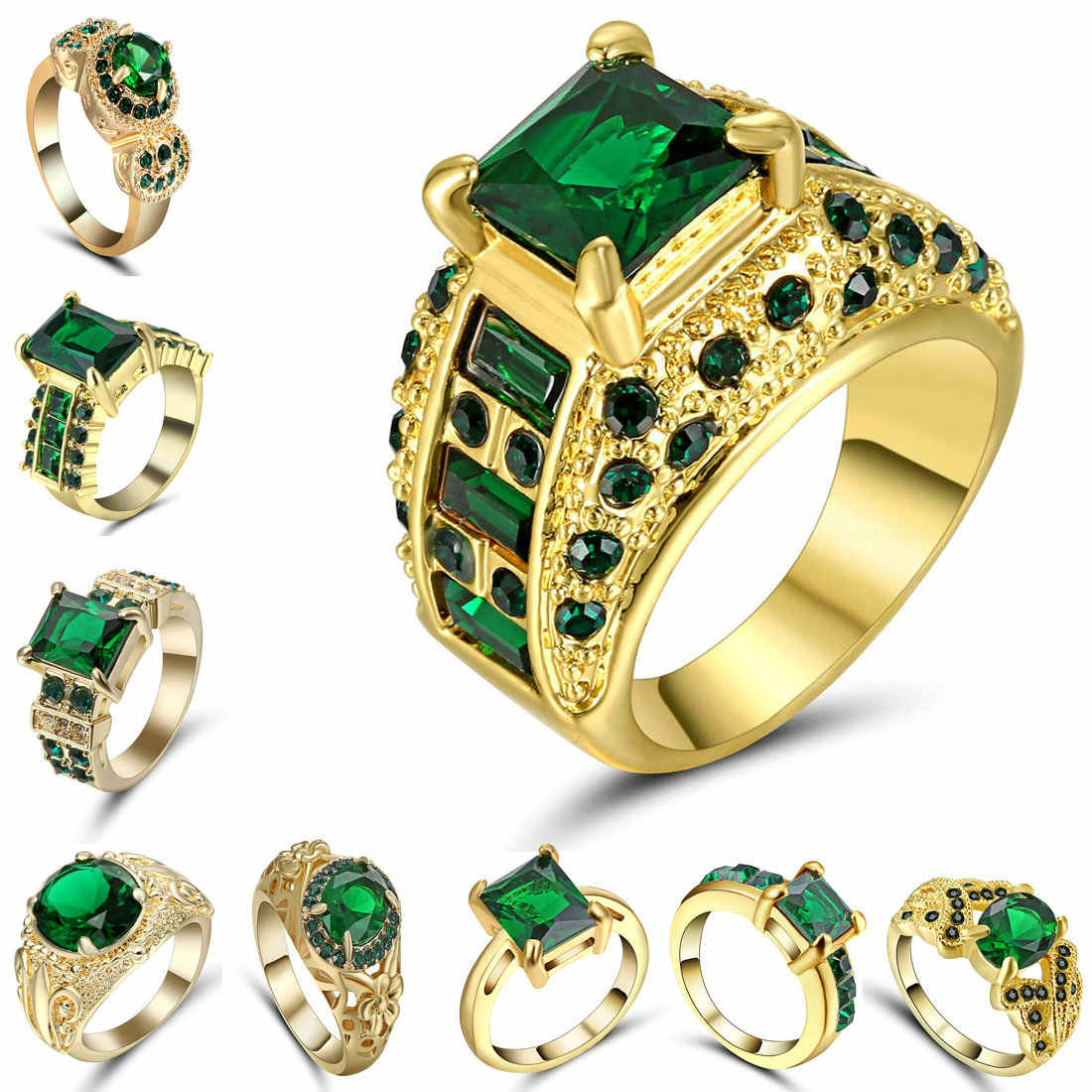 Design Hollow Crystal Gold colour Rings For Wedding Women Green Red Ring Anillos Fashion Engagement Jewelry Romantic Party Size7