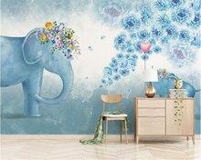 beibehang Custom wallpaper Nordic hand drawn elephant flowers childrens bedroom living room TV background wall 3d