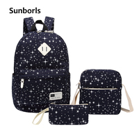 Sunborls Women Canvas Backpack Print Girl School Bags For Teenagers Backpack Feminine 3 PCS Set Shoulder
