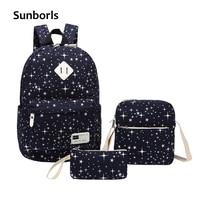 Sunborls Women Canvas Backpack Print Girl School Bags For Teenagers Backpack Feminine 3 PCS Set Shoulder