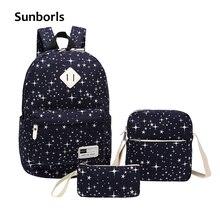 Sunborls Women Canvas Backpack Print Girl School Bags For Teenagers Backpack Feminine 3 PCS/Set shoulder bags Travelling Mochila