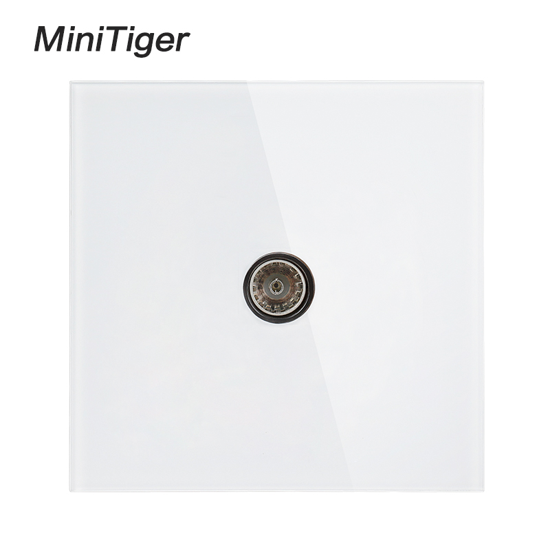 Minitiger White Luxury crystal Glass Panel TV Television Jack Wall Socket Tempered Glass Wiring Accessories Outlet