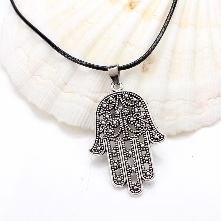 2018 Fashion Good Luck Protection Hamsa Fatima Hand Pendant Chain Necklace Antique Silver/bronze Hamsa Hand Necklace Necklaces & Pendants