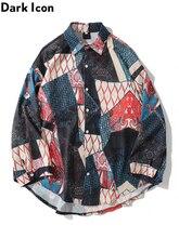 Dark Icon Ukiyo Egeometry Patchwork Long Sleeved Shirts Men Hip Hop Streetwear Mens Top