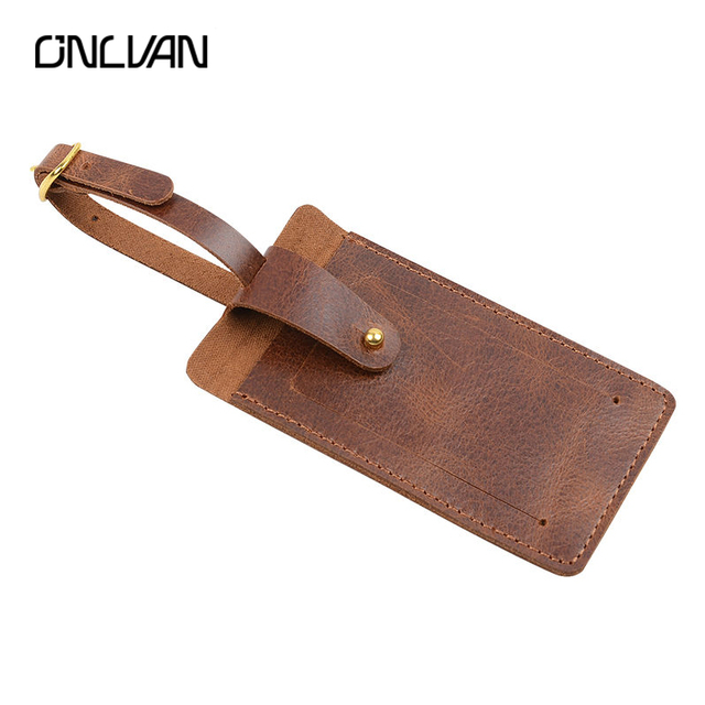 Onlvan 100 genuine leather luggage tag with business card id tags onlvan 100 genuine leather luggage tag with business card id tags cowhide suitcase tags vintage colourmoves