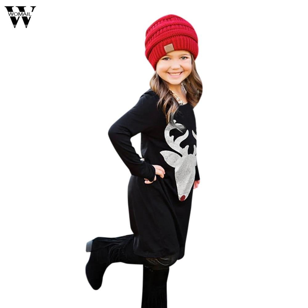 Womail «Мама и я» для девочек женское платье Рождество Новый Рождественский олень платья с длинным рукавом платье Семья наряды одежда Vestidos Dec18