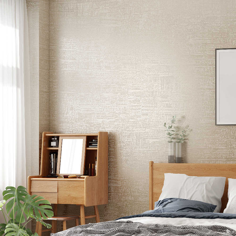 Modern Textured Wallpaper White Grey Beige Solid Color Wall Paper