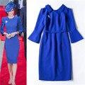 Vestidos das mulheres vestidos de envio gratuitos senhora 2016 princesa kate middleton vestido azul rurn down collar elegante vestido preto bainha