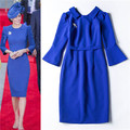 Vestidos de las mujeres de señora libre del envío viste 2016 vestido de princesa kate middleton azul rurn abajo negro elegante vestido de la envoltura