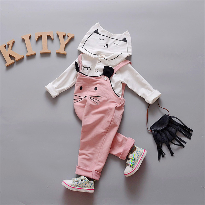Kiqoo   Autumn   Cartoon Cat Baby Girls Clothes For Kids 2 Pcs Clothing Set Long Sleeve Shirt+Overalls Dungarees  Outerwear cotton baby rompers set newborn clothes baby clothing boys girls cartoon jumpsuits long sleeve overalls coveralls autumn winter