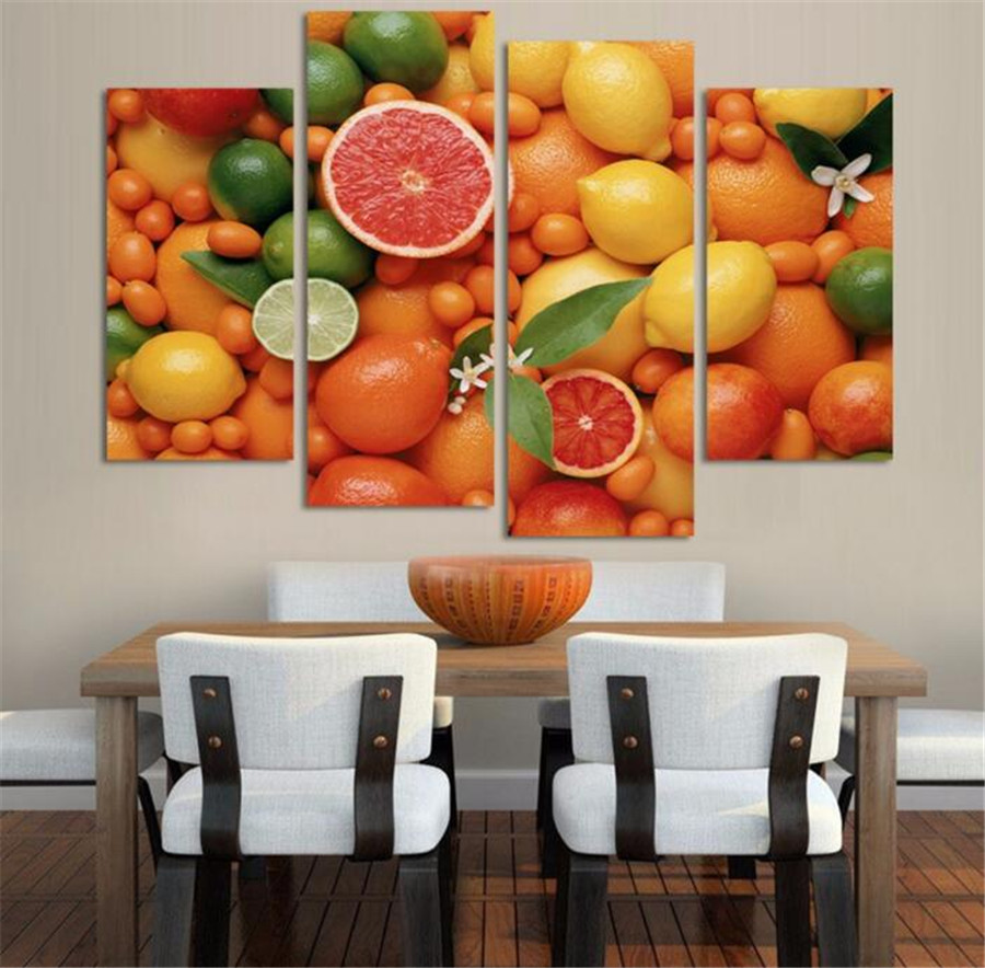 Home Kitchen Decor Picture Fresh Fruit Salad Wall: 4 Panels Wall Decor Oil Painting For Kitchen Fruits