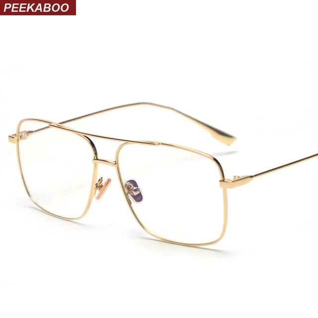 aef545875e Peekaboo big eyeglasses optical frame glasses women men 2018 metal black  gold retro square glasses frame for men clear lens
