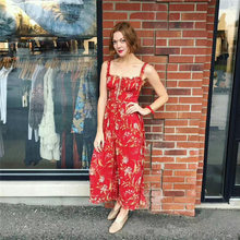 High Quality 2018 Red Print Summer Spaghetti Strap Vocation Holiday Women  Loose Jumpsuits 2abedeab5bb0