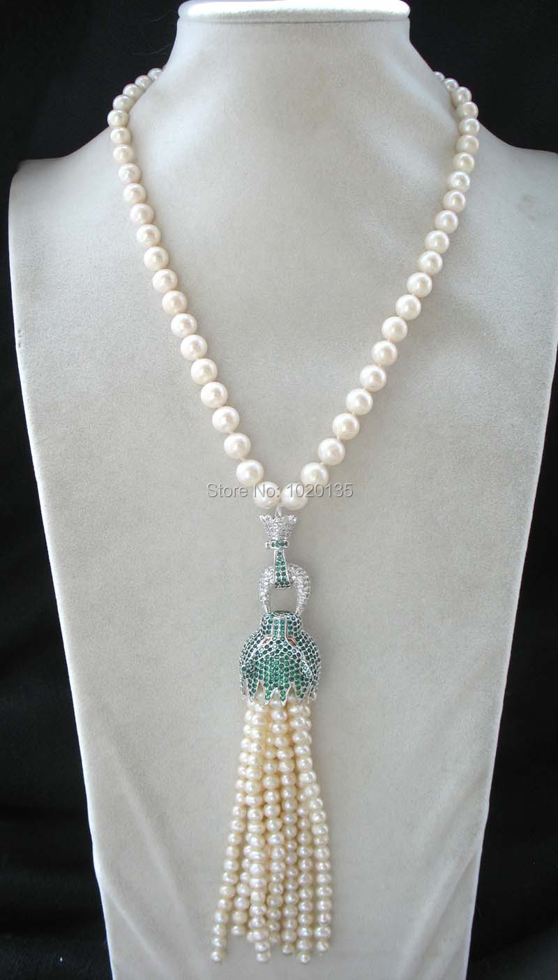 "freshwater pearl  white round 9-10mm and green  leopard clasp  necklace 18"" FPPJ tassel"