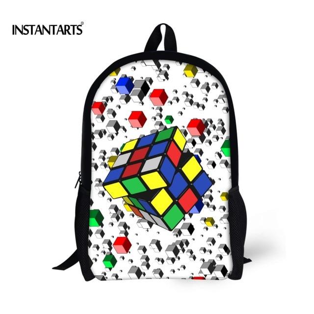 06430b02ec INSTANTARTS 3D Magic Cube Printing School Bags for Children Mochila Stylish  Bookbags for Teenager Girls Bookbag