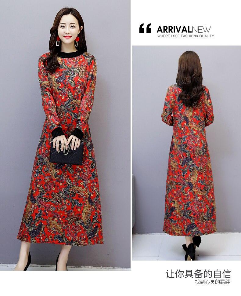 6912 Women Dress Elegant Long Sleeve Plus Size Print Vintage Velvet Warm Mom Maxi Dresses for Women Winter Dress Evening Party 2018 2
