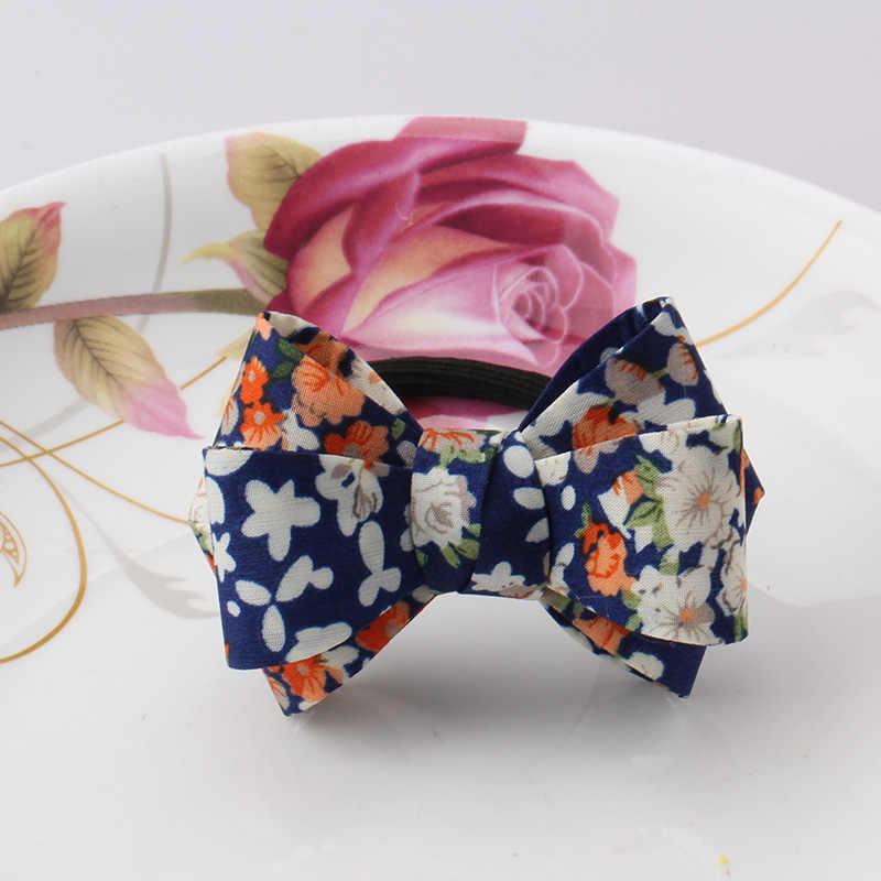 New Floral Pattern Big Bow Mũ Nón Tóc Sợi Dây Cô Gái Scrunchy Ponytail Tóc Chủ Phụ Nữ Tóc Phụ Kiện Headbands Kẹo Cao Su cho Tóc