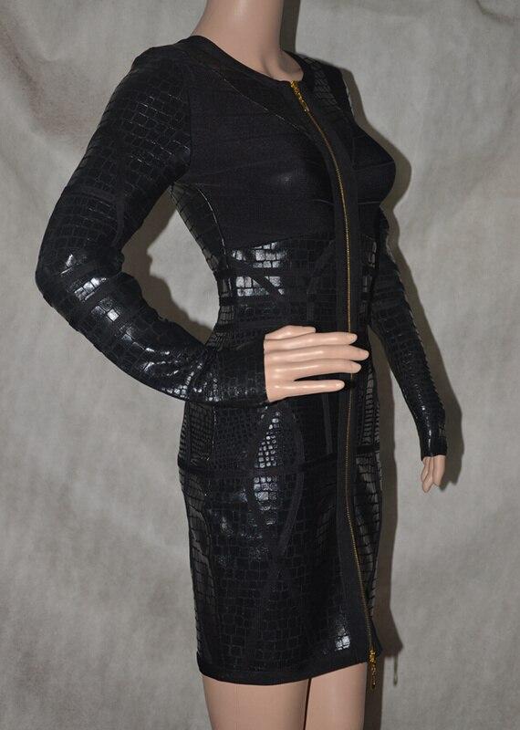 Célébrité Hl Robes Dropship Avant De Foil Robe Gros Imprimer En Zipper Noir Manches Métallique Moulante À Bandage Longues cWw6wvRqSC
