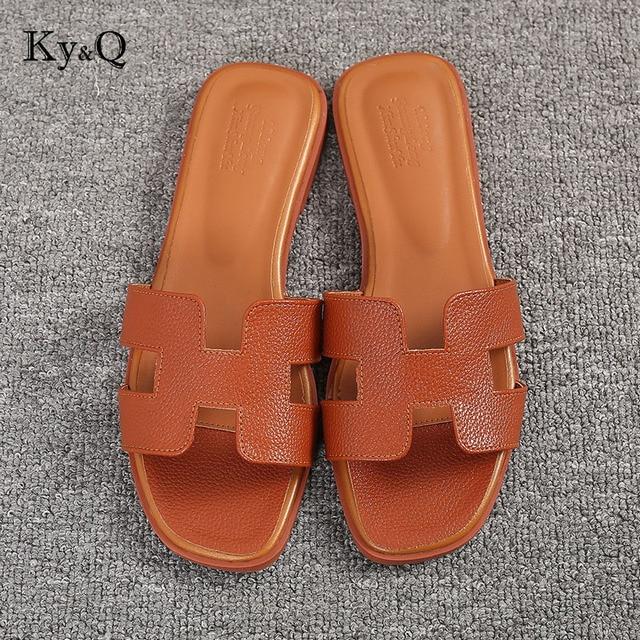c058d619e4e Luxury brand new slippers cut out summer beach sandals Fashion women slides  outdoor slippers indoor slip ons flip flops