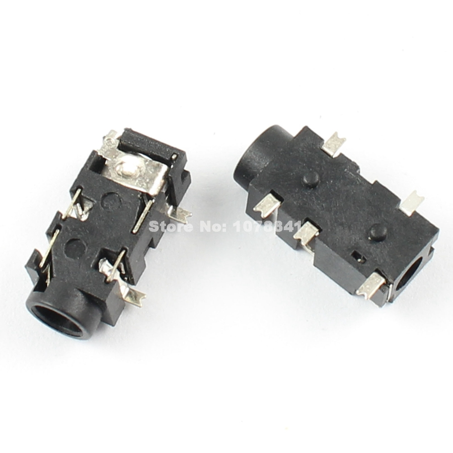 100pcs per lot 3 5mm female audio connector 5 pin smt smd stereo headphone  jack pj327e -in connectors from lights & lighting on aliexpress com |  alibaba