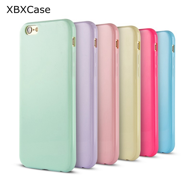 new arrival b8a83 e601a US $1.5 50% OFF|XBXcase Cute Candy Color TPU Phone Case for iPhone 7 8 Plus  6 6S Glossy Back Soft Silicone Gel Cover Case for iPhone 6S 6Plus X-in ...