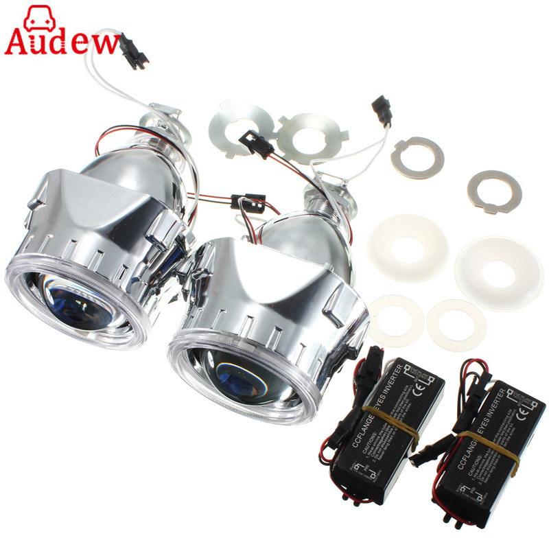 2.5 Car Motor Bi-xenon For HID Projector Halo Lens CCFL Angle Eye Fog Light Headlights shroud H1 H4 H7 pair 9600lm w cree cob chips h1 h3 h4 h7 h8 h9 h11 880 881 9005 9006 9012 car led headlight kit bulbs 6000k white