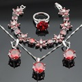 2016 Huge Round Red Created Garnet Silver Color Jewelry Sets Necklace Pendant Earrings For Women Free Gift Box