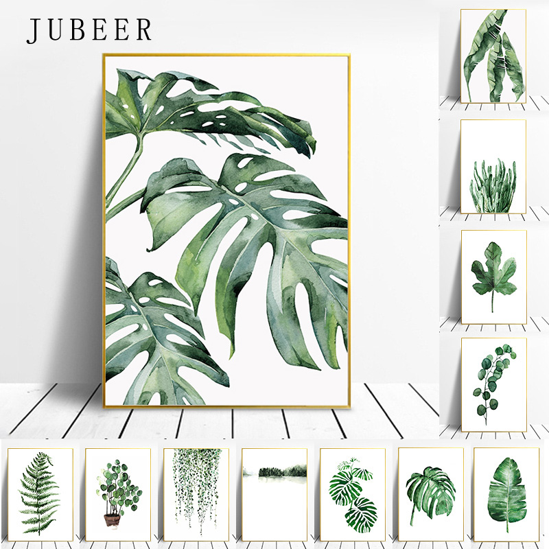HTB14Ai1dlGE3KVjSZFhq6AkaFXaE Scandinavian Style Tropical Plants Poster Green Leaves Decorative Picture Modern Wall Art Paintings for Living Room Home Decor