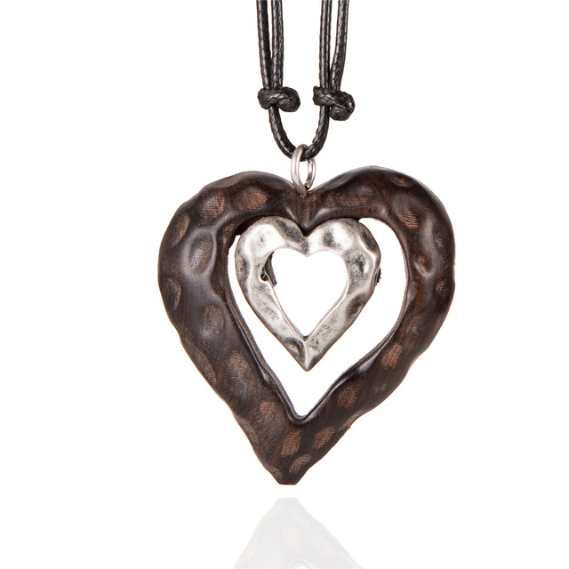 HOCOLE 2018 New Women Heart Pendant Wood Necklace Long Double Sandalwood Necklaces for Women Jewelry Collares Mujer Bijoux Femme
