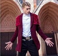 Для мужчин S Модные шерстяное пальто из искусственного меха Декоративные Для мужчин зима красный пальто Для мужчин зимняя куртка Размеры