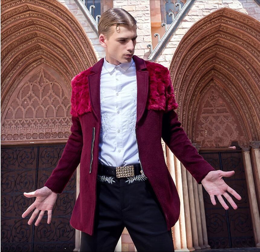 Mens fashion personality woolen cloth coat Fake fur decorative Men's Winter Red Coat men Winter Jacket Size M-XXXL