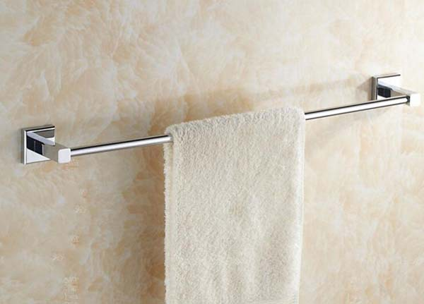 Free Shipping 400mm High quality Square copper Bathroom towel bar single-pole single-wide lengthened bathroom towel rack KF370 bathroom towel racks wall hook bar double pole single pole rack bathroom