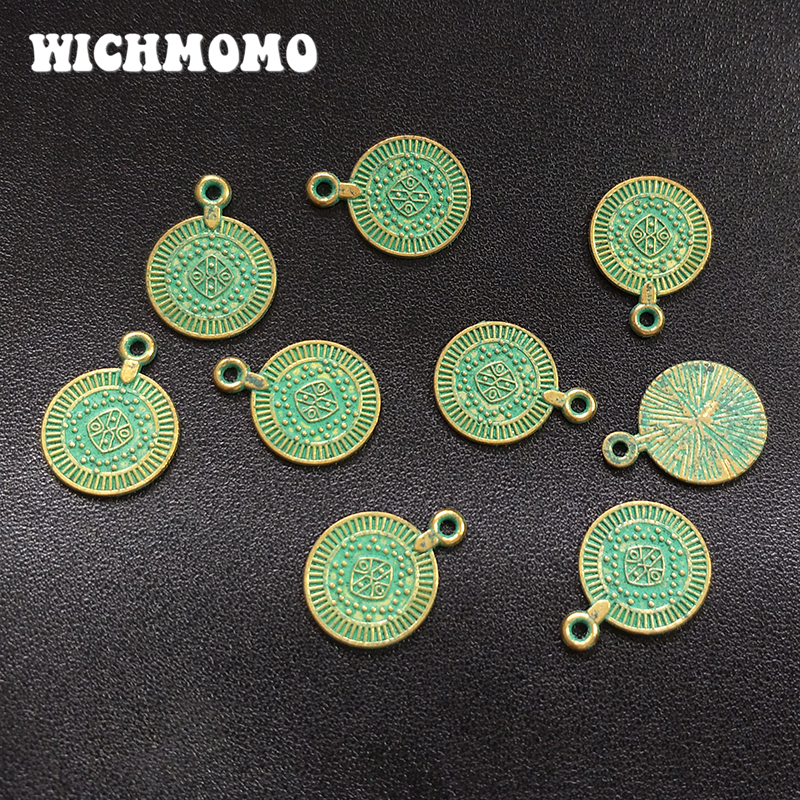 10pcs Alloy Carved Metal Beads Oval Gold Green Patina Unique Loose Spacers 11mm