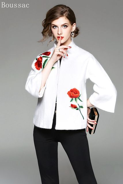 Free shipping new arriving spring Fashion big size Chinese style peony embroidered short section dress woolen jacket for women