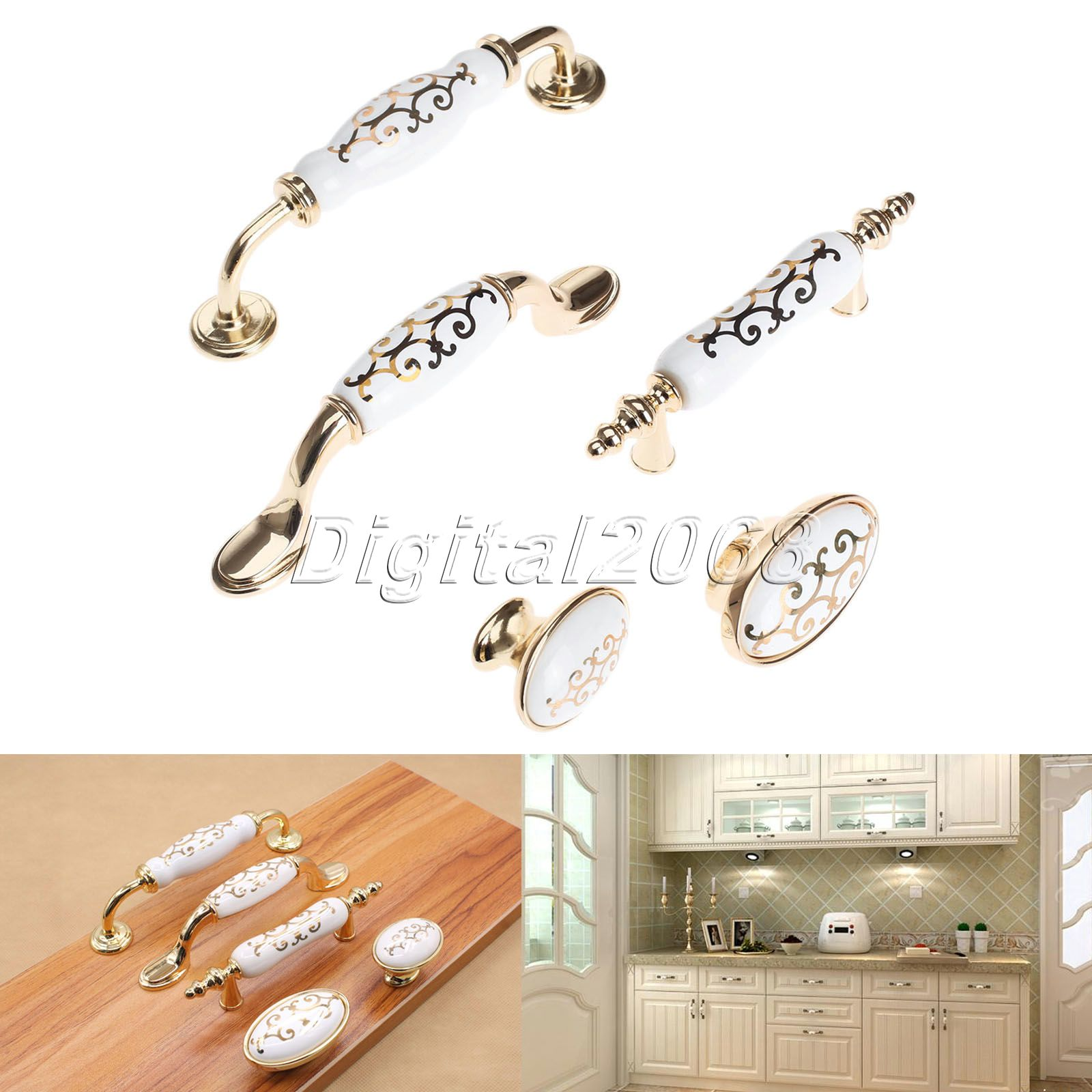 White Drawer Pull Knob Kitchen Cabinet Door Handles For Cabinet Wardrobe Cupboard Closet Drawer Furniture Hardware Accessories