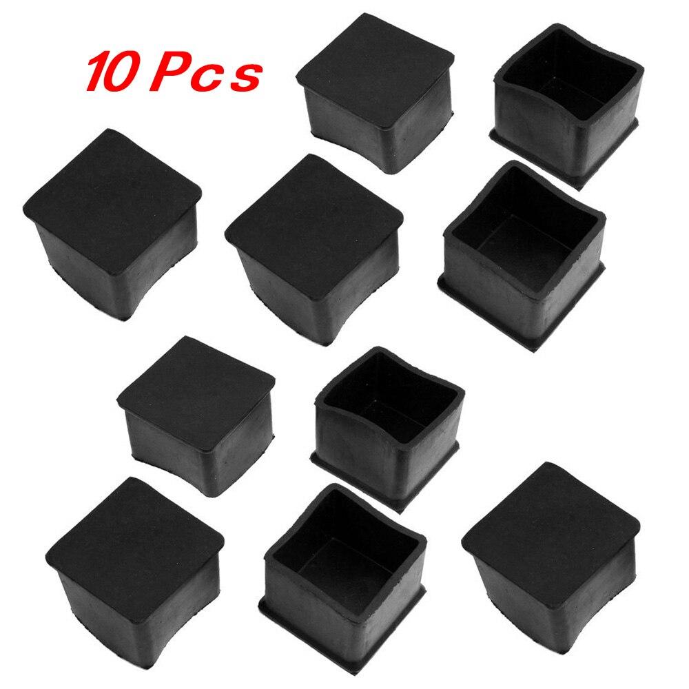 10 Pcs Black Rubber Square 38mm x 38mm Table Chair Leg Protective Foot Cap