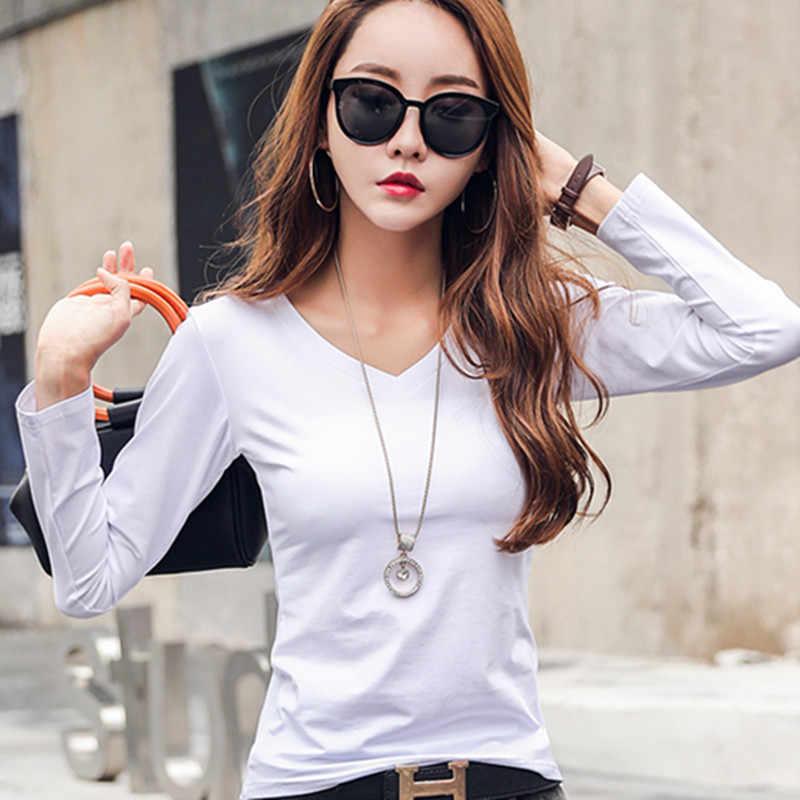 2019 Новая мода весна осень женские топы и блузки Тонкая Повседневная футболка черный белый хлопок длинный рукав v-образный Вырез Топ Блузка