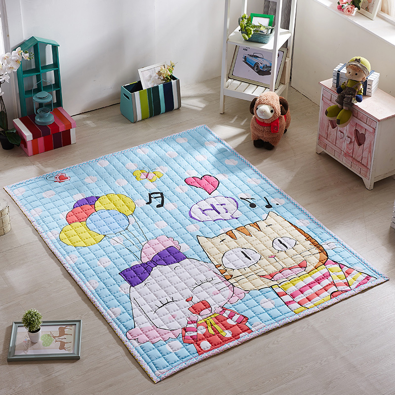 Infant Shining 200X150CM Baby Plat Mats 100% Cotton Children Carpet Cartoon Large Living Room Rugs Bedroom Blanket