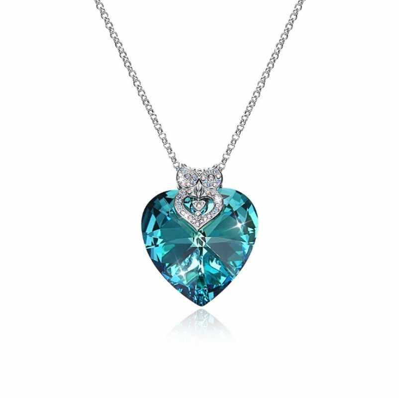 FOSIR 925 Plata de Ley suéter cadena collar largo cristal verde corazón búho colgante encantos compromiso boda joyería