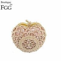Gift Box Golden Apple Clutch Bag Crystal Evening Bags Women Handbags Rhinestones Clutches Party Handbag Wedding